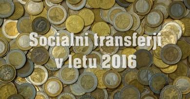Socialni transferji v letu 2016