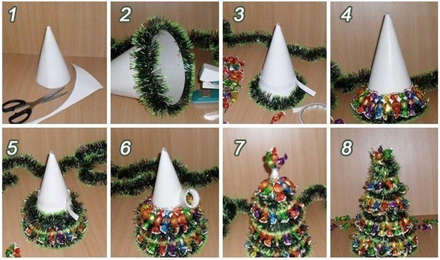 Mini božično-novoletno drevesce iz bonbonov