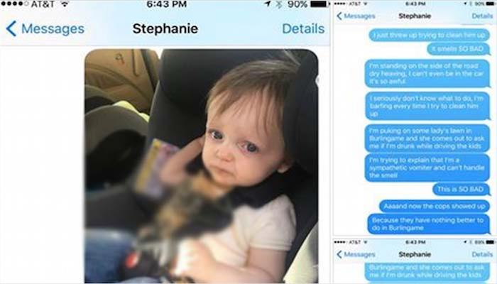 Histerična sporočila ženi, potem ko je njun malček bruhal v avtu