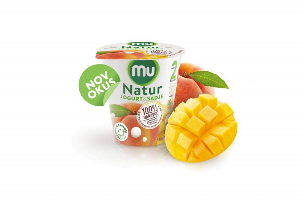 Nov okus Mu Natur: jogurt, breskev, mango. In nič drugega.