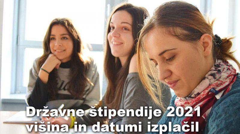 Državne štipendije 2021 - višina in datumi izplačil