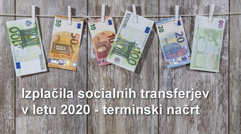 Izplačila socialnih transferjev v letu 2020 - terminski načrt