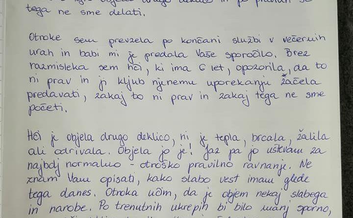 Sporočilno pismo učiteljici