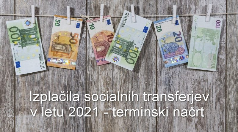 Izplačila socialnih transferjev v letu 2021 – terminski načrt