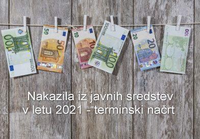 Nakazila iz javnih sredstev 2021 - terminski načrt